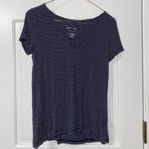 AE soft and sexy navy &white striped string up top